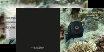faire depliant 2 volets  4 pages  animal poisson sous marine nature MIF40220