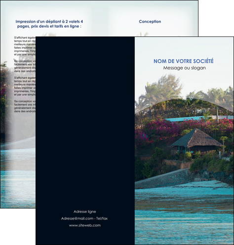 creation graphique en ligne depliant 2 volets  4 pages  agence immobiliere maison sur plage immobilier immobilier de luxe MIS40264