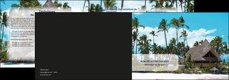 creation graphique en ligne depliant 2 volets  4 pages  agence immobiliere maison maison sur la plage lotissement MIS40594