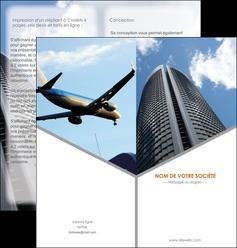 faire depliant 2 volets  4 pages  agence immobiliere immeuble gratte ciel immobilier MLGI42552