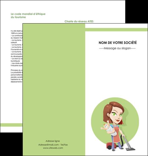 modele en ligne depliant 2 volets  4 pages  agence de placement  femme de menage employe de maison nenene MIF44558