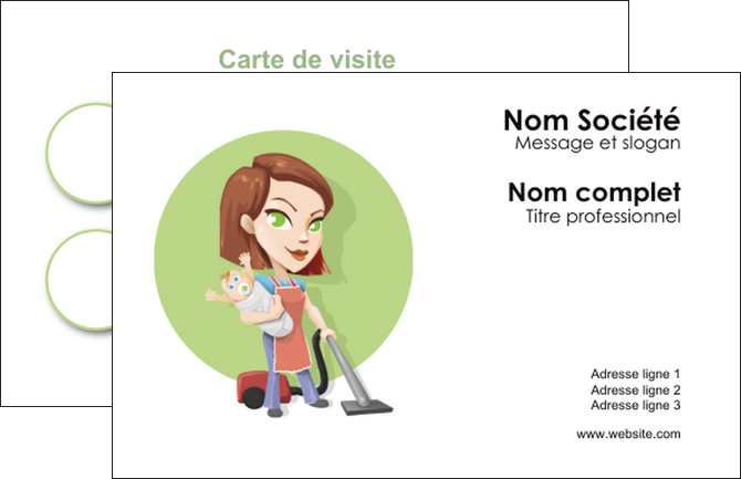 Imprimer Carte De Visite Agence Placement Femme Menage Employe Maison Nenene MLGI44570