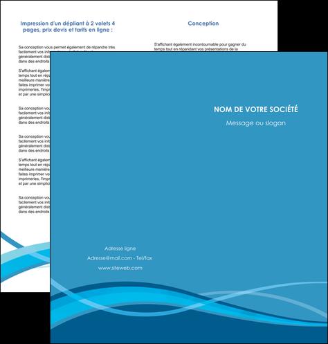 personnaliser maquette depliant 2 volets  4 pages  bleu couleurs froides fond bleu MLGI58144
