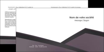 impression depliant 2 volets  4 pages  violet noir courbes MIF58424