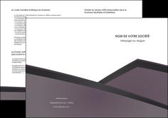 faire depliant 2 volets  4 pages  violet noir courbes MIF58434