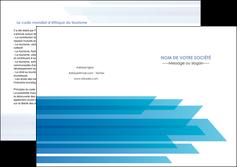 personnaliser modele de depliant 2 volets  4 pages  bleu couleurs froides trait MLIG59618