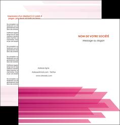 personnaliser modele de depliant 2 volets  4 pages  rose fond rose trait MLGI59668