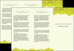 modele depliant 3 volets  6 pages  graphisme vert fond vert colore MIF60060