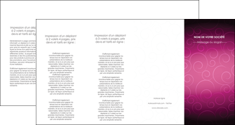 maquette en ligne a personnaliser depliant 4 volets  8 pages  fushia rose courbes MLGI61930