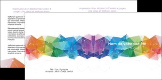 personnaliser maquette depliant 2 volets  4 pages  graphisme arc en ciel bleu abstrait MIF62464
