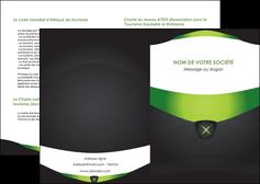 creer modele en ligne depliant 2 volets  4 pages  gris vert fond MIF64008
