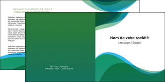 modele depliant 2 volets  4 pages  vert bleu couleurs froides MLIP64194