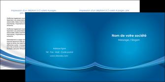 faire depliant 2 volets  4 pages  bleu fond bleu pastel MIF66696