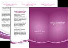 exemple depliant 3 volets  6 pages  violet violette abstrait MLGI66964