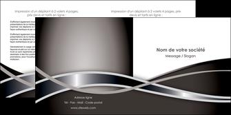 personnaliser maquette depliant 2 volets  4 pages  web design noir fond gris simple MIS70998
