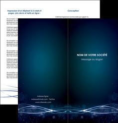 modele en ligne depliant 2 volets  4 pages  fond  bleu couleurs froides structure en bleu MIF72360