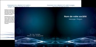 modele depliant 2 volets  4 pages  fond  bleu couleurs froides structure en bleu MIF72362