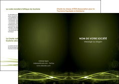 exemple depliant 2 volets  4 pages  fond vert structure en vert abstrait MIF72390