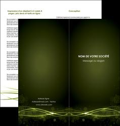personnaliser modele de depliant 2 volets  4 pages  fond vert structure en vert abstrait MIF72412
