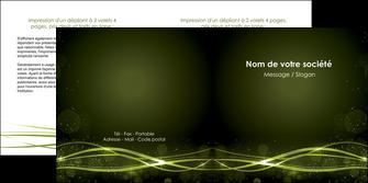 faire depliant 2 volets  4 pages  fond vert structure en vert abstrait MIF72414