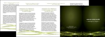 personnaliser modele de depliant 4 volets  8 pages  fond vert structure en vert abstrait MIF72432