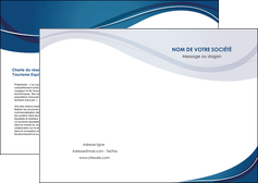 cree depliant 2 volets  4 pages  web design bleu fond bleu courbes MLIG74822