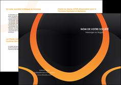 personnaliser maquette depliant 2 volets  4 pages  web design noir orange texture MLGI79140