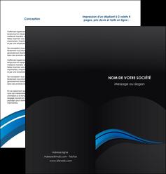 modele depliant 2 volets  4 pages  web design bleu couleurs froides gris MIF79574