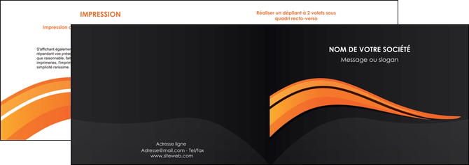 imprimerie depliant 2 volets  4 pages  web design orange gris couleur froide MLGI80418