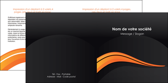 impression depliant 2 volets  4 pages  web design orange gris couleur froide MID80432