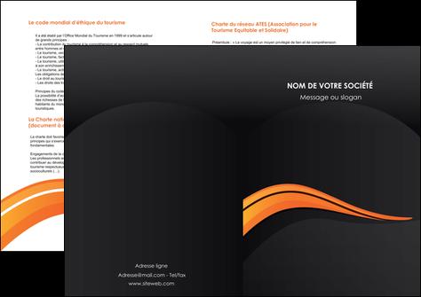 faire modele a imprimer depliant 2 volets  4 pages  web design orange gris couleur froide MLGI80442