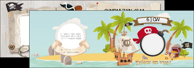 personnaliser modele de depliant 2 volets  4 pages  faire part pirate bateau MLIG96340